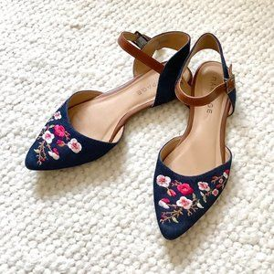 Rampage corinna floral denim pointed sandal flats